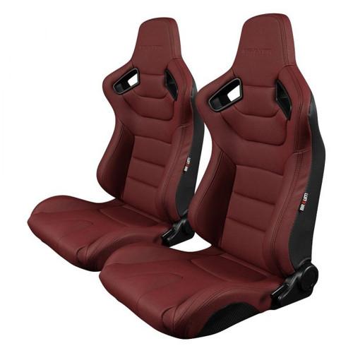 Braum Elite Series Sport Seats (Pair) - Maroon Leatherette