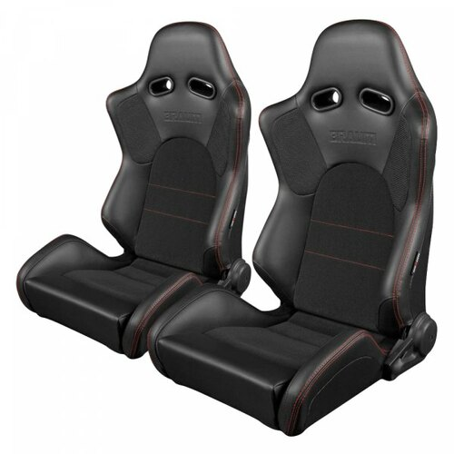 Braum Advan Series Sport Seats (Pair) - Black Leatherette (Red Stitching)