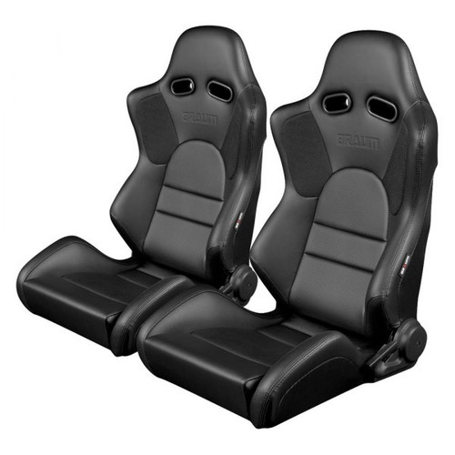 Braum Advan Series Sport Seats (Pair) - Black Leatherette (Black Stitching)