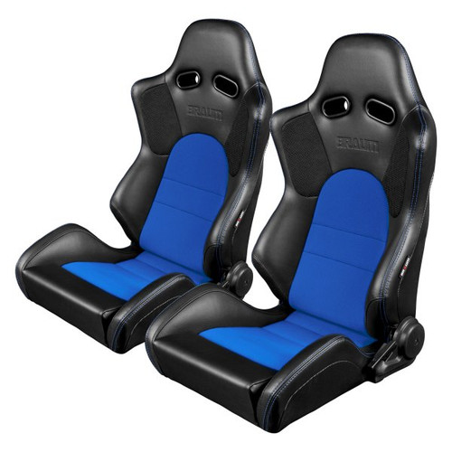 Braum Advan Series Sport Seats (Pair) - Black Leatherette with Blue Fabric Insert