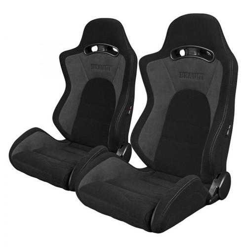 Braum S8 Series V2 Sport Seats (Pair) - Black Cloth with Grey Microsuede