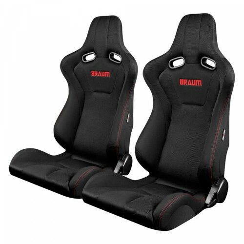 Braum Venom Series Sport Seats (Pair) - Black Cloth (Red Stitching)