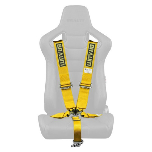 """Braum 5 Point 3"""" SFI Approved Racing Harness - Yellow"""