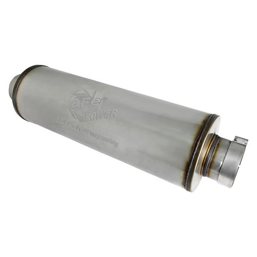 aFe SATURN 4S Stainless Steel Muffler for 4 IN ID Center/Center x 8 IN Dia. x 30 IN OAL - Round Body