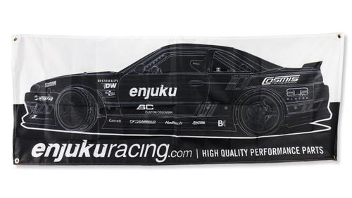Enjuku Racing Garage Banner - Black & White