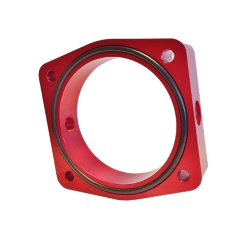 Torque Solution 03-06 Nissan 350Z / 02-09 Nissan Maxima 3.5L V6 Throttle Body Spacer (Red)