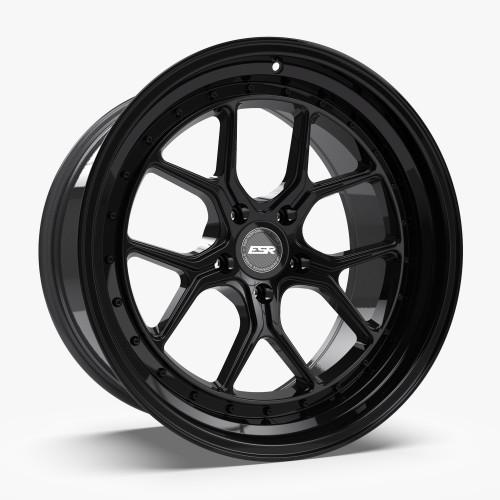 ESR Wheels CS2 18X9.5 5X120 (CUSTOM DRILL) +22 GLOSS BLACK FACE GLOSS BLACK LIP