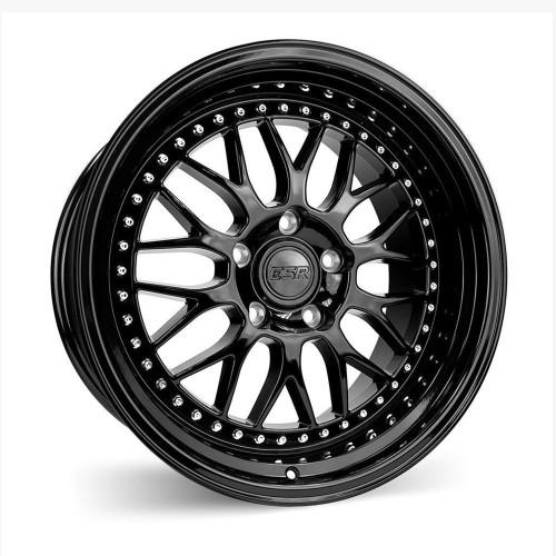 ESR Wheels SR01 18X10.5 5X112 (CUSTOM DRILL) +15 GLOSS BLACK FACE GLOSS BLACK LIP