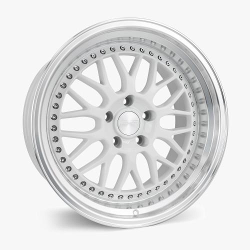 ESR Wheels SR01 18X9.5 5X112 (CUSTOM DRILL) +22 GLOSS WHITE FACE MACHINED LIP