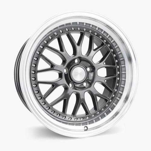 ESR Wheels SR01 18X9.5 5X112 (CUSTOM DRILL) +22 GLOSS GRAPHITE FACE MACHINED LIP