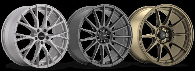 Three racing wheels