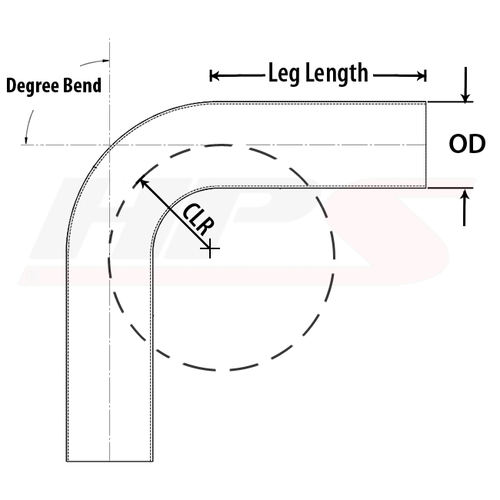 "63mm 70 Degree Bend 16 Gauge Aluminum Tubing Elbow Pipe 4/"" CLR HPS 2-1//2/"" OD"