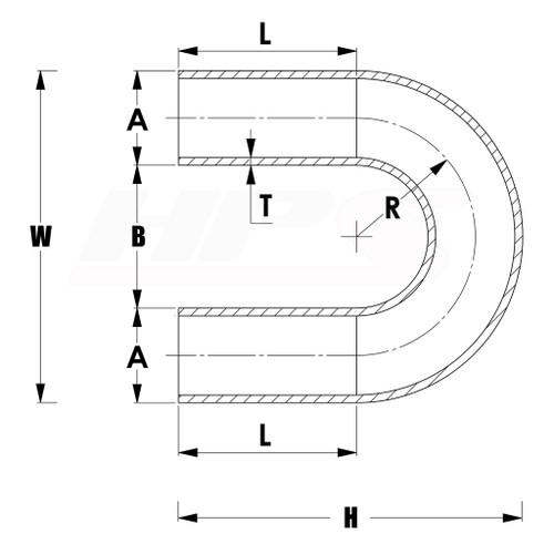 "HPS 1.25/"" OD 180 Degree U Bend 6061 Aluminum Elbow Pipe 16 Gauge w// 2/"" CLR"