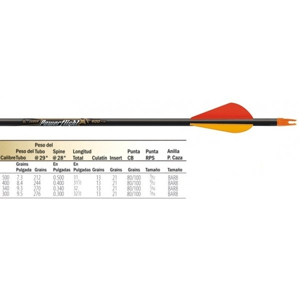 New Easton POWERFLIGHT 500 Carbon Arrows w/ Blazer Vanes 1/2 Dozen