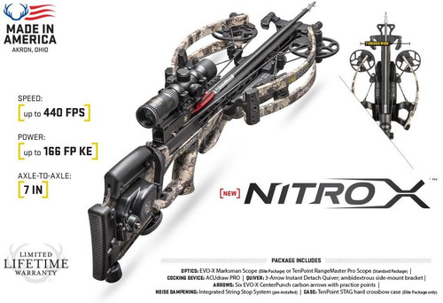 2018 New 2018 TenPoint Nitro X with AcuDraw Pro Crossbow Package CB18005-3813
