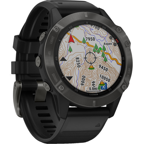 Garmin Fenix 6 Multisport GPS Smartwatch - Carbon Gray DLC with Black Band