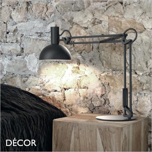 Arki - Black Modern Designer Extendable Desk Light - Perfect Task Light for your Study, Workspace, Bedside, Lamp Table, Living Room & Lounge. DFTP