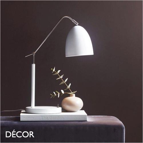 Alexander - Matt White & Chrome Modern Designer Adjustable Table Lamp - Scandinavian Design for a Living Room, Study, Reception Room or Bedside