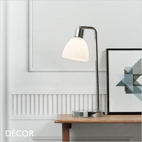 Ray - Chrome & Opal White Glass Modern Designer Desk Light - Perfect Lighting Solution for a Study, Workspace, Bedside, Lamp Table & Living Room