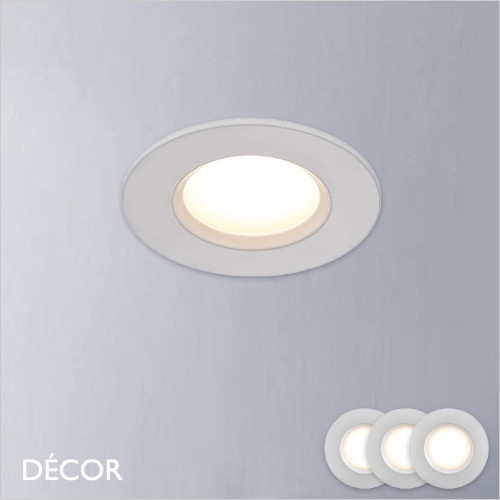Dorado, Set of 3 - Round White Modern Designer Recessed Ceiling LED Downlight/Spotlight, Dimmable - Minimalist Design Suitable For The Bathroom and Any Contemporary Indoor Space, Perfect for Home & Business