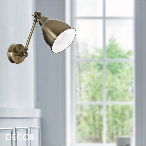 Newton - Antique Brass Modern Designer Extendable Wall Light - Vintage Industrial Light for a Study, Workspace, Bedside, Reception, Hotel & Bistro