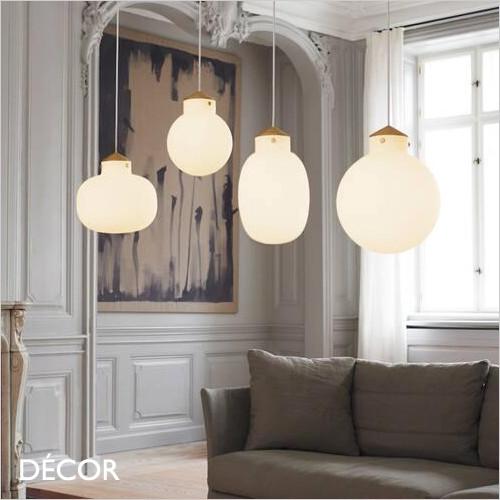 A1 Raito, 4 Sizes - Satin Brass & Opal White Glass Round & Oval Modern Designer Pendant Light - Danish Style Ideal for the Kitchen Island, Kitchen, Stairwell, Dining Room & Bistro