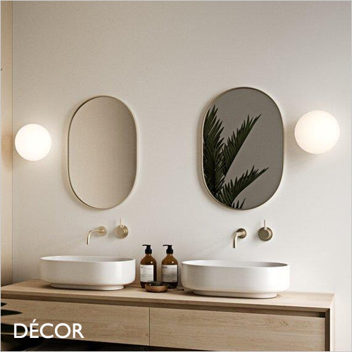 Alton - Opal White Glass & Brushed Brass Modern Designer Flush Fitting Globe Wall Light - Perfect for a Kitchen, Living Room, Hotel, Bistro & Café