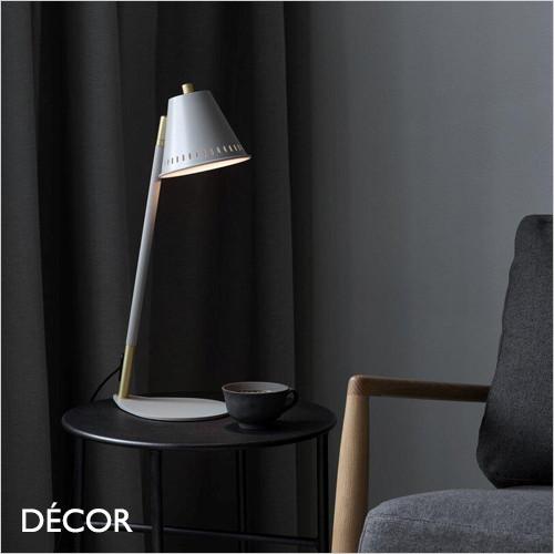 Pine - Matt Grey & Brass Modern Designer Adjustable Table Lamp - Industrial Scandinavian Chic for a Living Room, Study or Bedside
