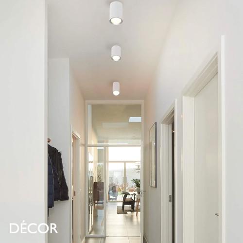 1A1 Fallon Long, MoodMaker™ - Matt White & Brushed Steel Modern Designer Tubular LED Downlight/Spotlight - Stylish Danish Design For Any Contemporary Space