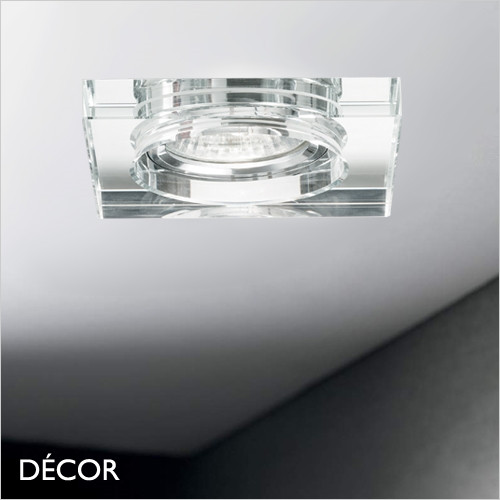 Blues, Square - Clear Modern Designer Recessed Ceiling Downlight/Spotlight - Polished Minimalism with Italian Style For Any Contemporary Living Space
