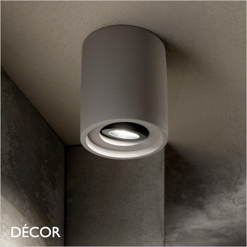 Oak, Round - Cement Finish Modern Designer Adjustable Recessed Ceiling Downlight/Spotlight - Stylish Minimalist Design For Any Contemporary Space