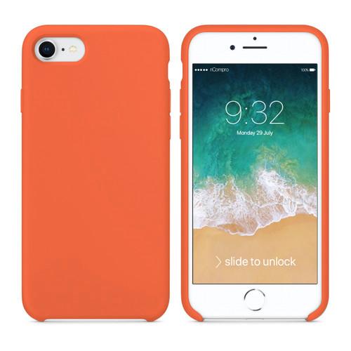 Cover Silicone Liquido per iPhone 7 e iPhone 8 Arancione Pesca