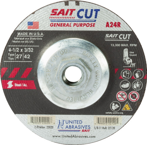 "United Abrasives-SAIT 22120, Cutting Wheel, 4-1/2"" x 3/32"" x 5/8-11, Type-27 A24R, 10/box"