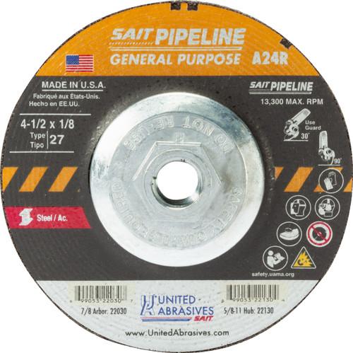 "United Abrasives-SAIT 22130, Cutting/Grinding Wheel, 4-1/2"" x 1/8"" x 5/8-11, Type-27 A24R PIPELINE, 10/box"