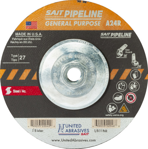 "United Abrasives-SAIT 22052, Cutting/Grinding Wheel, 7"" x 1/8"" x 5/8-11, Type-27 A24R PIPELINE, 10/box"