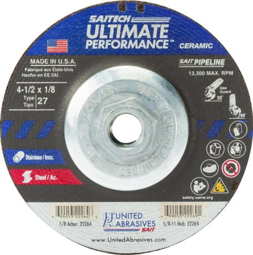 "United Abrasives-SAIT 22269, Cutting/Grinding Wheel, 4-1/2"" x 1/8"" x 5/8-11, Type-27 SAITECH PIPELINE, 10/box"