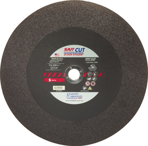 "United Abrasives-SAIT 24500, Chop Saw Wheel, 14"" x 3/32"" x 1"", Type-1 EZ-CHOP ATTACKER, 10/box"