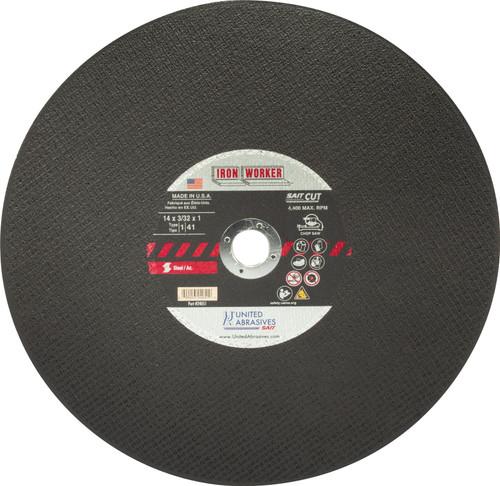 "United Abrasives-SAIT 24051, Chop Saw Wheel, 14"" x 3/32"" x 1"", Type-1 IRON WORKER, 10/box"