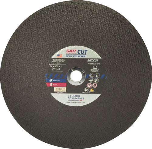 """United Abrasives-SAIT 24053, Chop Saw Wheel, 14"""" x 3/32"""" x 1"""", Type-1 SAITECH"""