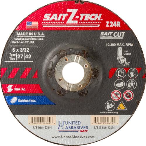 """United Abrasives-SAIT 22644, Cutting Wheel, 6"""" x 3/32"""" x 7/8"""", Type-27 Z-TECH, 25/box"""
