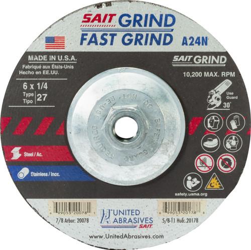 "United Abrasives-SAIT 20178, Grinding Wheel, 6"" x 1/4"" x 5/8-11, Type-27 A24N, 10/box"