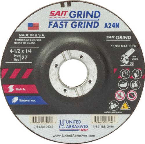 "United Abrasives-SAIT 20060, Grinding Wheel, 4-1/2"" x 1/4"" x 7/8"", Type-27 A24N, 25/box"