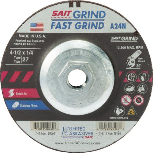 "United Abrasives-SAIT 20160, Grinding Wheel, 4-1/2"" x 1/4"" x 5/8-11, Type-27 A24N, 10/box"