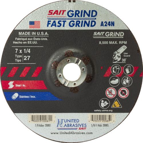 "United Abrasives-SAIT 20081, Grinding Wheel, 7"" x 1/4"" x 7/8"", Type-27 A24N, 25/box"