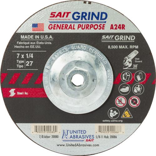 "United Abrasives-SAIT 20086, Grinding Wheel, 7"" x 1/4"" x 5/8-11, Type-27 A24R, 10/box"