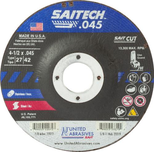 "United Abrasives-SAIT 22072, Cutting Wheel, 4-1/2"" x .045"" x 7/8"" Type-27 SAITECH, 50/box"