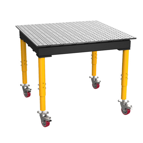"""BuildPro® TMRC54848F, 4' x 4' MAX Welding Table, Standard Finish, Adjustable Heavy-Duty Legs with Casters, Table Surface Height 33.3"""" - 43.3"""""""