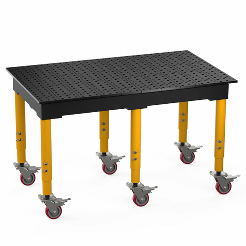 """BuildPro® TMQRC56036F, 5' x 3' MAX Welding Table, Nitrided Finish, Adjustable Heavy-Duty Legs with Casters, Table Surface Height 33.3"""" - 43.3"""""""