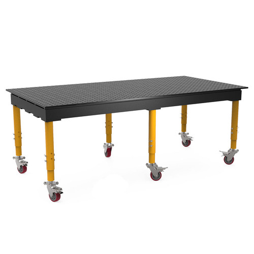 """BuildPro® TMQRC59648F, 8' x 4' MAX Welding Table, Nitrided Finish, Adjustable Heavy-Duty Legs with Casters, Table Surface Height 33.3"""" - 43.3"""""""
