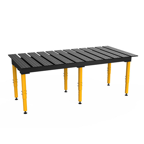 """BuildPro® TMQR59446, 8' x 4' MAX Slotted Welding Table, Nitrided Finish, Adjustable Heavy-Duty Legs, Table Surface Height 28.5"""" - 38.5"""""""